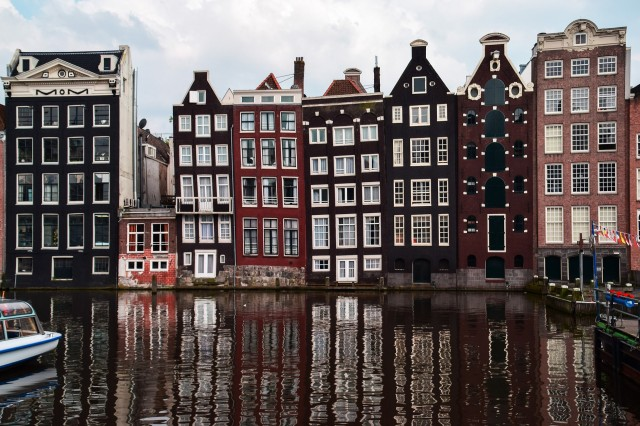 Houses with unique architectural structures in Amsterdam