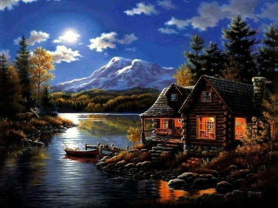 Acrylic landscape painting Houses near the River