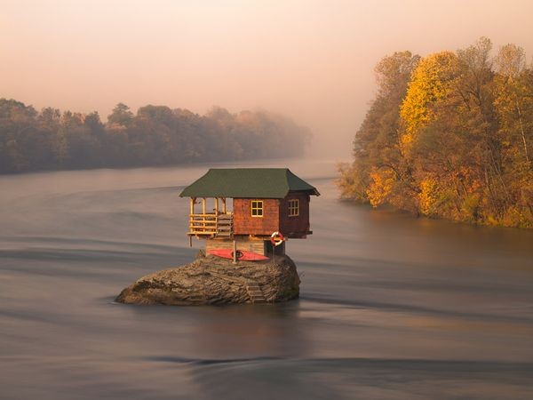 Cottage on the Drina river in Serbia