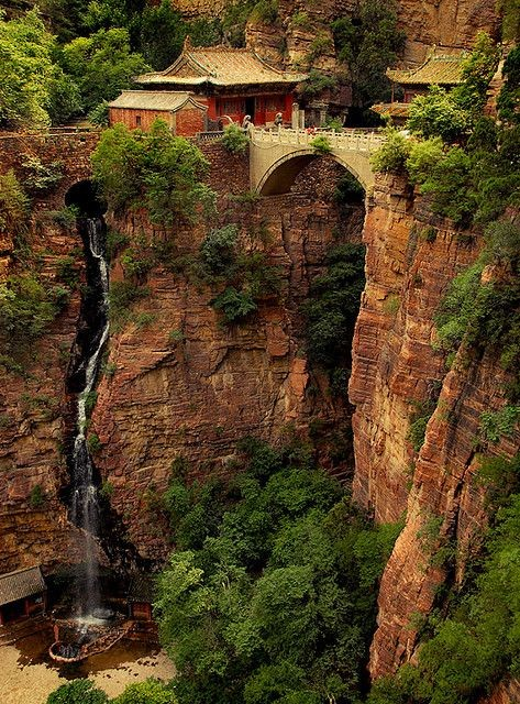 Fortune Celebration Temple Green Cliff Mountain is a scenic area in Jingxing County, Hebei Province, China