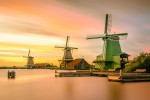 Historic wooden windmills in Holland