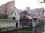 Wooden house in the medieval town of Bruges, Belgium