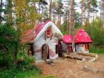 Gnome houses in the Roggebotse forest in Dronten.