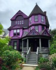 Purple colored house in Victorian style