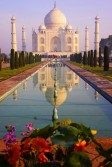 The Taj Mahal is an ivory-white marble mausoleum