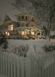 Victorian house in snow