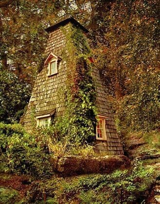 Fantasy cottage in the woods.