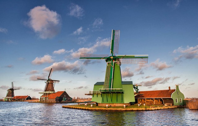 Historic wooden windmills